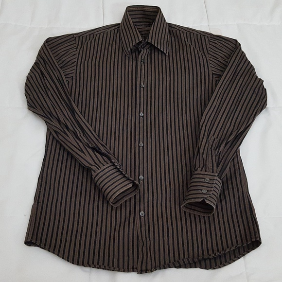 4185c357d Hugo Boss Shirts | Shirt Mens 15 3233 Brown Black Stripe | Poshmark